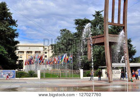 GENEVA SWITZERLAND - SEPTEMBER 3: Modern sculpture in the United Nation square in Geneva on September 3 2015. Geneva is the second largest city of Switzerland.
