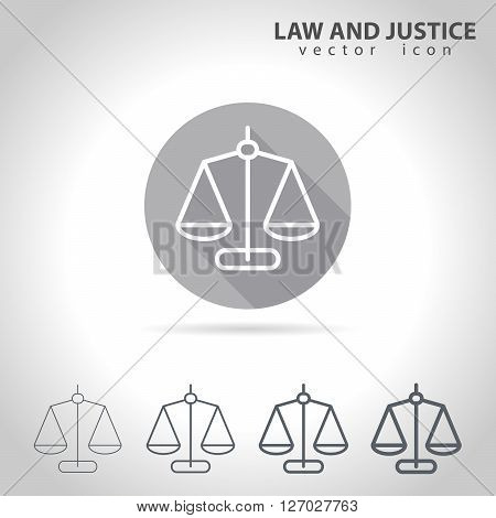 Law and justice outline icon set, collection of scale icons, vector illustration