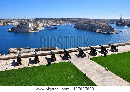 VALLETTA MALTA - FEBRUARY 16: View of the Lascaris Battery in Valletta on February 16 2014. Valletta is a capital and the largest city of Malta.