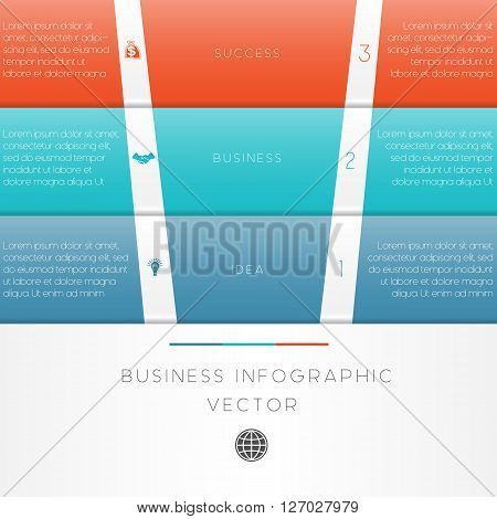 Colour strips vector illustration template of business infographic numbered three position