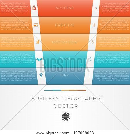 Colour strips vector illustration template of business infographic numbered five position