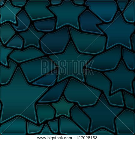 abstract vector stained-glass mosaic background - dark teal stars
