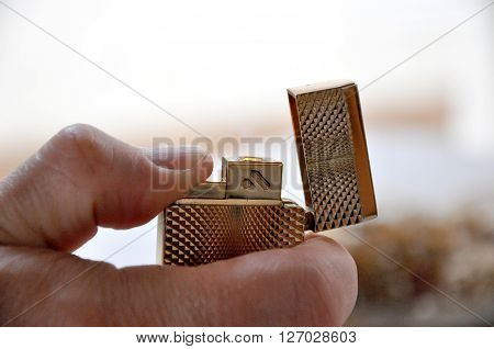 Lighter In Male Hand