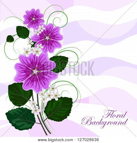 Beautiful violet mallows and white flowers on waved pastel background. Vector illustration.