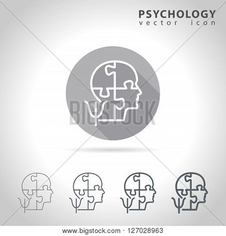 Psychology outline icon set, collection of puzzle head mind icons, vector illustration