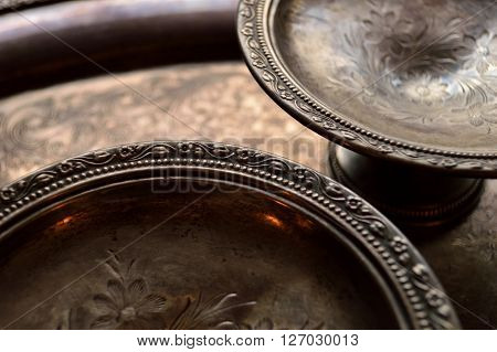 Tarnished Silver Dishes