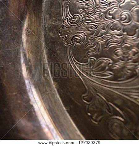 Tarnished Antique Silver Background Closeup