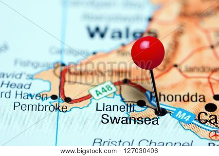 Swansea pinned on a map of Wales