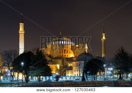 ISTANBUL, TURKEY - JANUARY 08, 2015 - Hagia Sophia at night with lighting