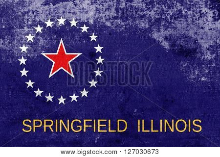 Flag Of Springfield, Illinois, With A Vintage And Old Look