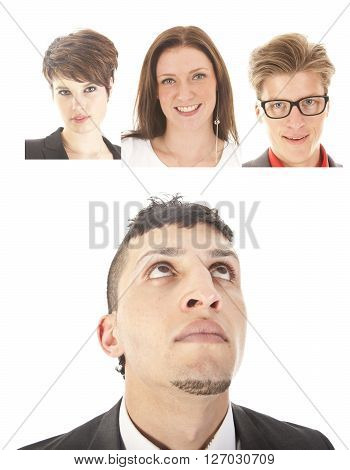 Young businessman with friends isolated on white background