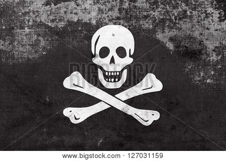 The Traditional Jolly Roger Of Piracy Flag, With A Vintage And O