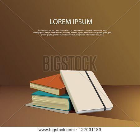 Three books on the desk. Vector illustration.