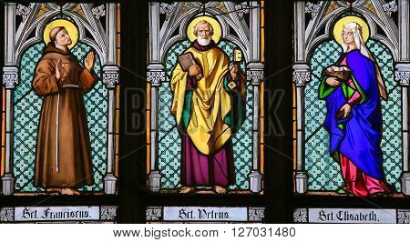 Stained Glass - Saints Francis, Peter And Elisabeth