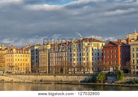 View on the houses on the bank of Saone, Lyon, France