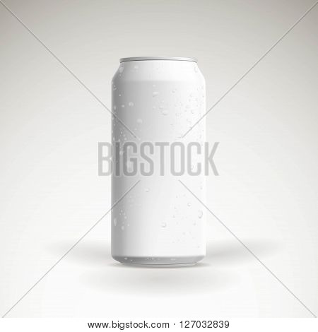 Photorealistic vector beer can mockup with water drops. 3d
