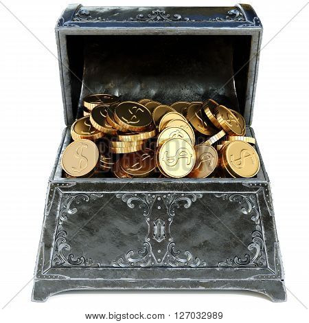 old metal chest with gold coins. isolated on a white background. 3D illustration.