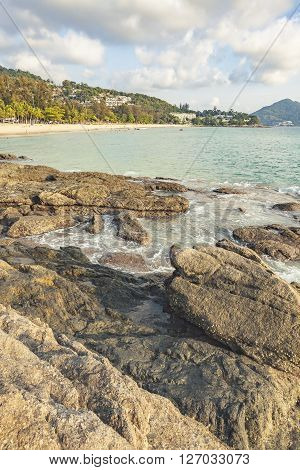 Beautiful sea. The rocks on at Surin beach Phuket in Thailand