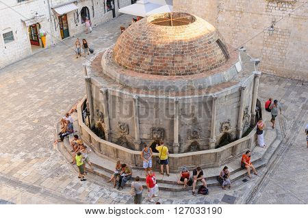 DUBROVNIK CROATIA - AUGUST 31 2009: Big Onofrio fountain bird's eye view