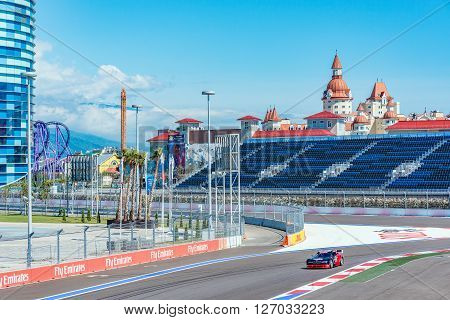 Sochi Russia - May 11 2015: Training races of the high speed car on the autodrom.