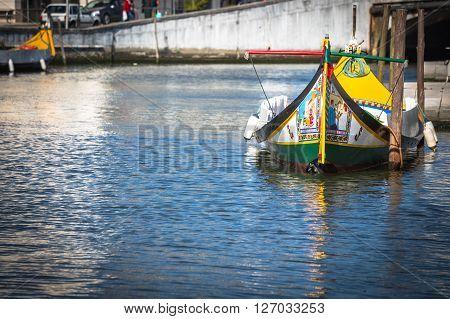 Typical Moliceirogondolas in Vouga river. Aveiro Portugal