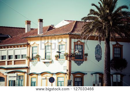 Aveiro Portugal. Typical building view. Europe .