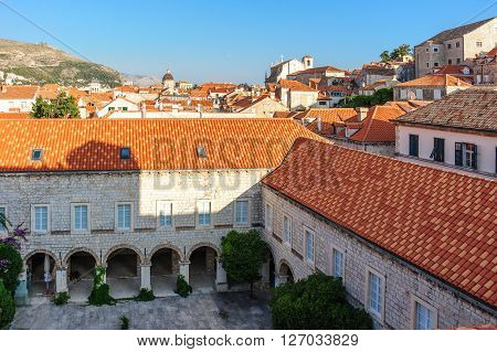 DUBROVNIK CROATIA - AUGUST 31 2009: St. Claire convent as viewed from the walls
