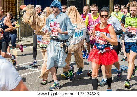 London United Kingdom - April 24 2016: London Marathon 2016. Runners in great costumes. Camel and bedouin costume