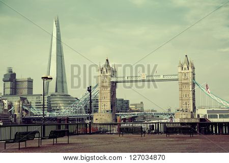 London cityscape viewed from Katharine Pier