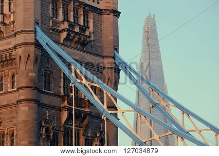 Tower Bridge with Shard as the city landmark..