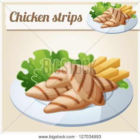 Grilled chicken strips. Detailed Vector Icon. Series of food and drink and ingredients for cooking.