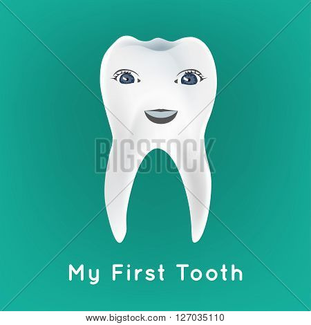 Baby preliminary tooth vector illustration. Editable image on a blue background. Tooth character with a cute smiling face. Children teeth infographic.