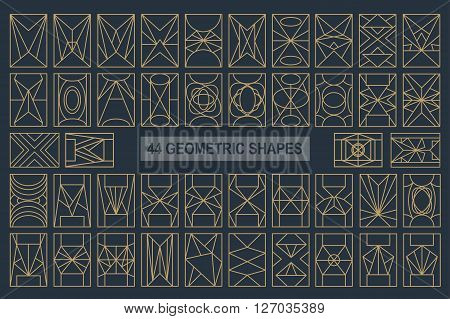 Set of hipster vector geometric shapes. Rectangle abstract. Shapes made using line, triangles, rectangle, and other polygons. You can use it for design icons, logos masks and overlaying on photos.