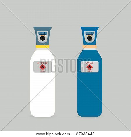 Gas cylinders in different colors. Cylinders for liquefied gas. Gas cylinders for welding.