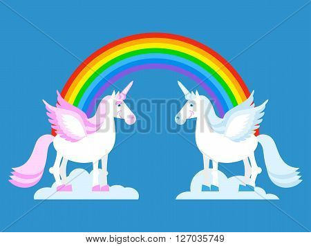 Unicorn And Rainbow. Two Cute Fantasy Creatures In Clouds. Fabulous Beast With Horn In His Forehead.