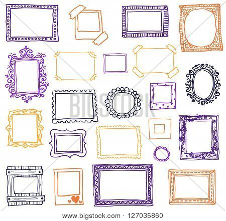 Hand drawn photoframes. Doodle vector illustration. Coloured frames in sketch style