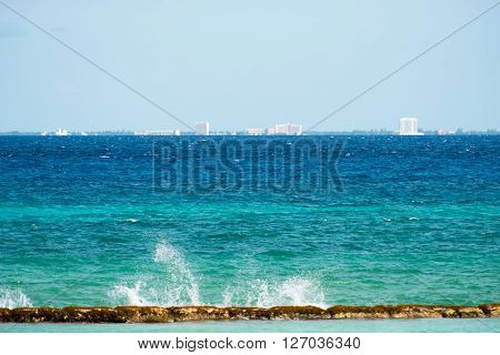 Rocky coast with a view of Cozumel