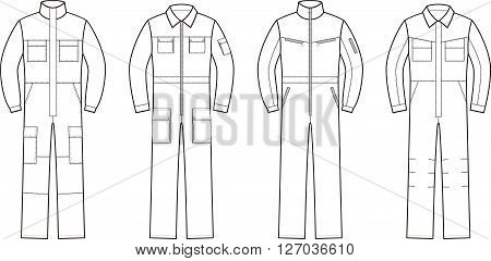 Vector illustration. Set of work overalls. Different models
