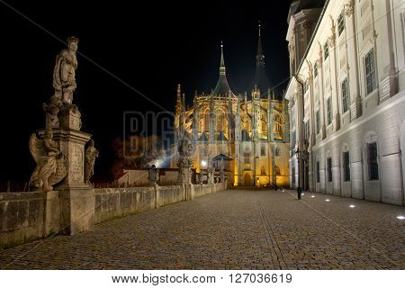 A view of St. Barbara's Cathedral in the night, Kutna Hora, Czech republic