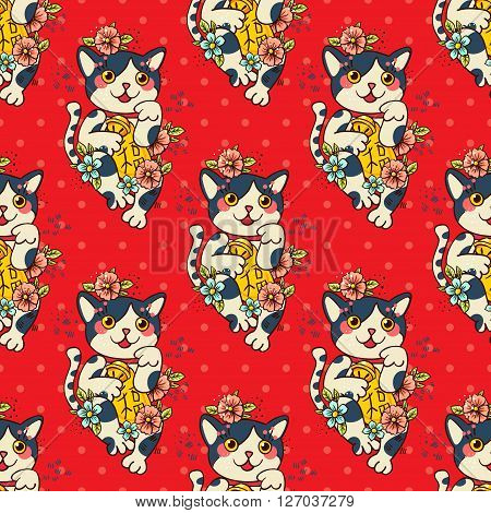Happy Japanese cat Maneki-neko flowered. Traditional mascot in the style of old school tattoos. Amulet for good wishes print on t-shirt.Texture for wrapping paper textile surface design fashion.