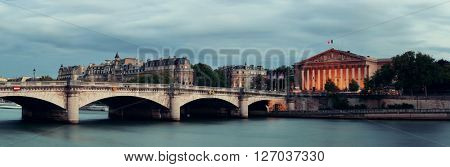 Paris River Seine panorama with Pont de la Concorde and Assemblee Nationale
