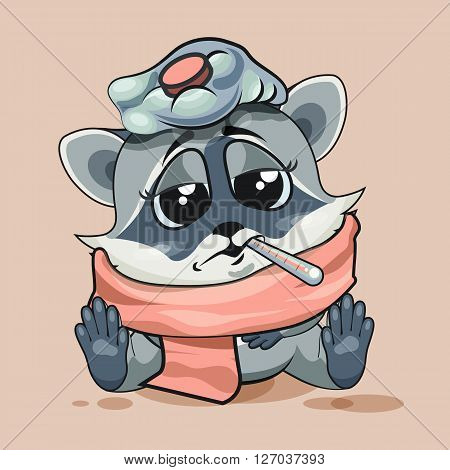 Vector Stock Illustration isolated Emoji character cartoon Raccoon cub sick with thermometer in mouth sticker emoticon for site, infographic, video, animation, website, e-mail, newsletter, report, comic