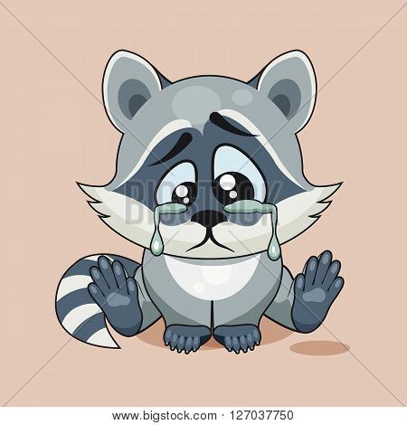 Vector Stock Illustration isolated Emoji character cartoon sad, frustrated Raccoon cub crying, tears sticker emoticon for site, infographic, video, animation, website, e-mail, newsletter, report, comic