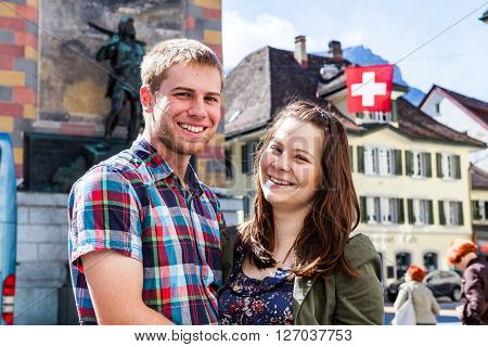 A couple in the village Altdorf in canton Uri Switzerland