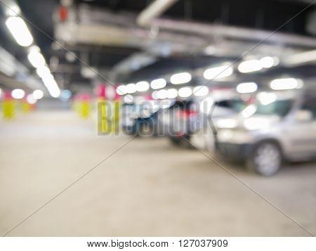 Blurred Cars On Underground Parking