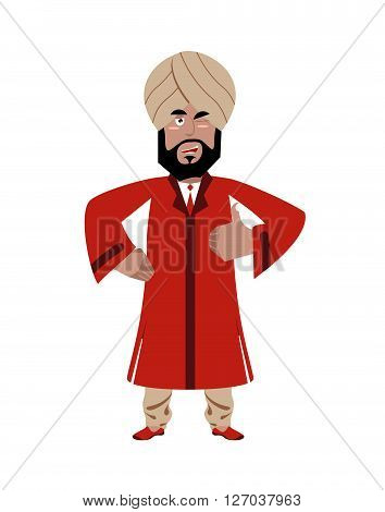 Indian Businessman Shows Well. Indians With Beard. Sign All Right. Thumbs Up. Hand Showing Ok. Gestu