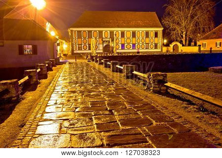 Baroque town of Varazdin square at evening northern Croatia