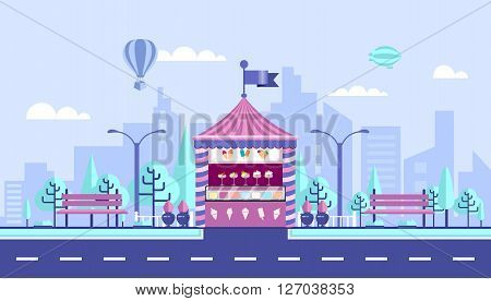 Stock vector illustration city street with selling ice cream kiosk in flat style element for infographic, website, icon, games, motion design, video