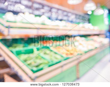 Blur Of Fresh Fruits On Shelf In Supermarket.