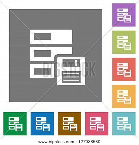 Backup flat icon set on color square background.